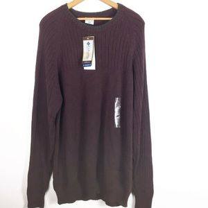 Columbia Brown Cable Knit Crewneck Sweater